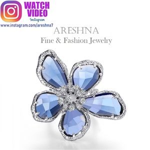 Floral Sky Blue Swarovski Crystals Cocktail Ring